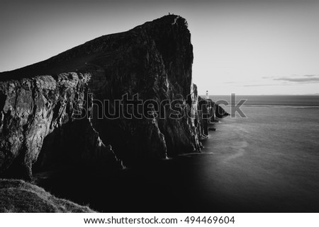 A black and white shot taken at Neist point on the Isle of Skye just before Sunset.