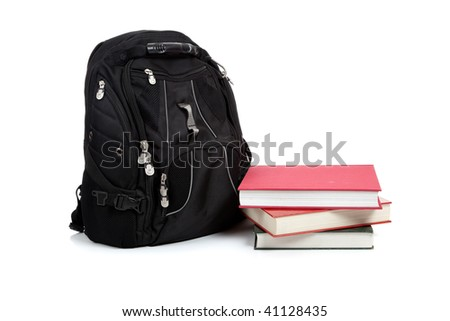 A  black backpack with text books on a white background with copy space