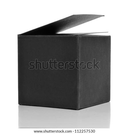 a black cardboard box on a white background - stock photo