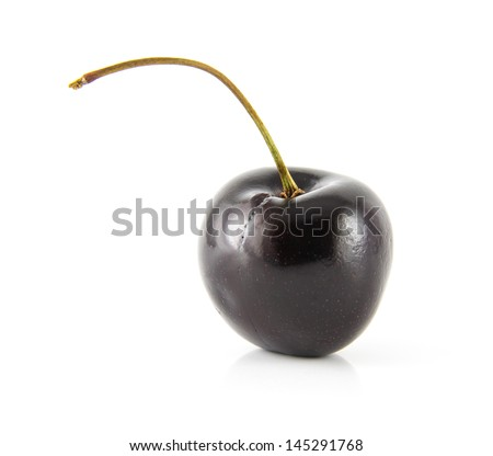 A black cherry Isolated on a white background - stock photo