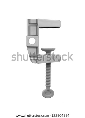 A black clamp isolated against a white background