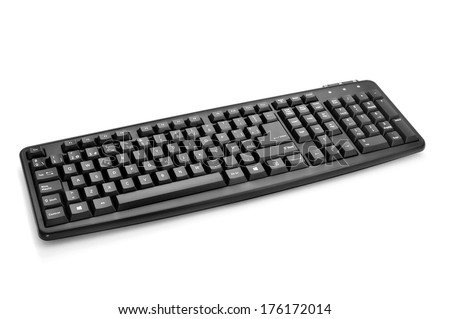 a black computer keyboard on a white background