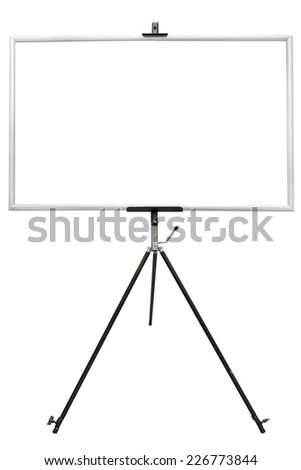 A black easel with a blank white canvas on it perfect for pasting artwork, noticed or commercial adds isolated on white background with clipping path - stock photo