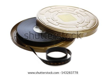 A black film case reel isolated on white - stock photo