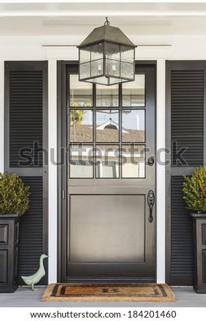 Black Front Door White Home Doormat Stock Photo Royalty Free