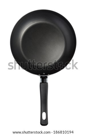 A black frying pan isolated on white - stock photo