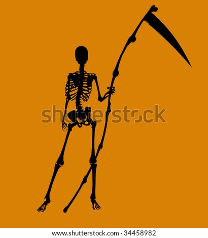 A  black halloween illustration silhouette on an orange background