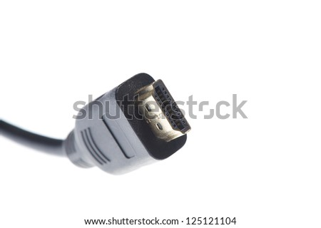 A black HDMI cable with full size HDMI connector isolated on a white background - stock photo