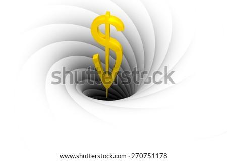 a black hole sucks in money - stock photo