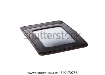A black leather, plastic name tag for employee card(name card) closeup isolated white.