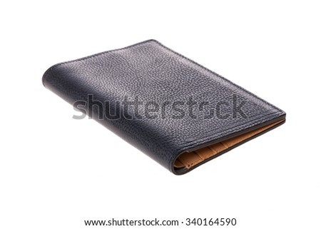 A black leather wallet(inside brown) for money, passport isolated white. - stock photo