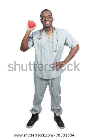 A black male African American doctor cardiologist holding a red heart - stock photo