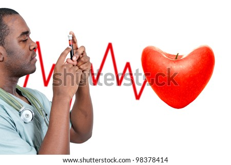 A black man African American doctor holding a test tube vial sample of blood - stock photo