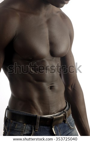 A black man with a muscular body and white background.
