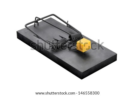 A black mouse or rat trap with a large chuck of cheese bait isolated on a white background - stock photo