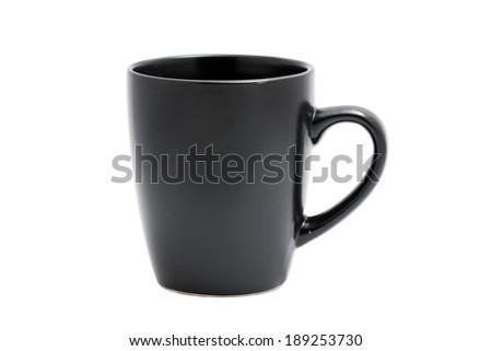 a black mug on white - stock photo