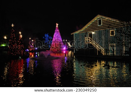 A black nigh'st view of Christmas trees and a building draped in colorful lights and surrounded by water.  - stock photo