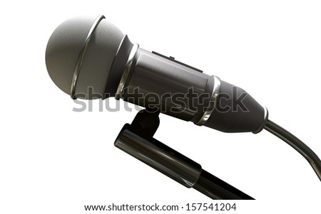 A black plastic and foam microphone on an isolated white background