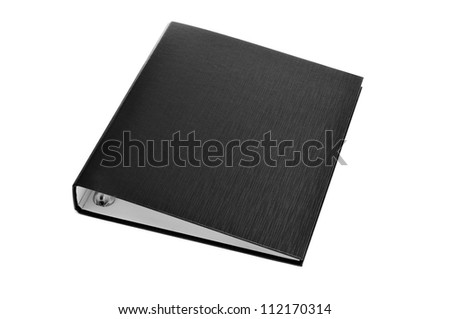 a black ring binder on a white background - stock photo
