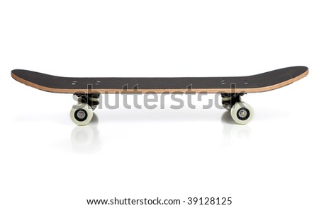 A black skate board on a white background - stock photo