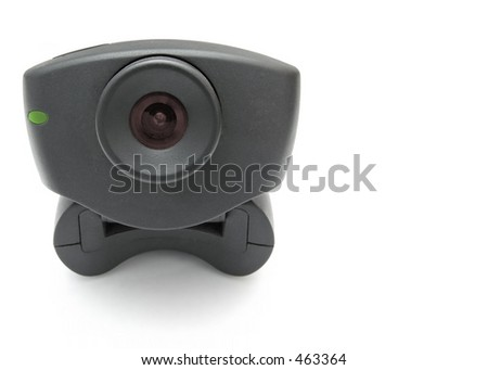 A black USB Internet Webcam with red lens and green led light