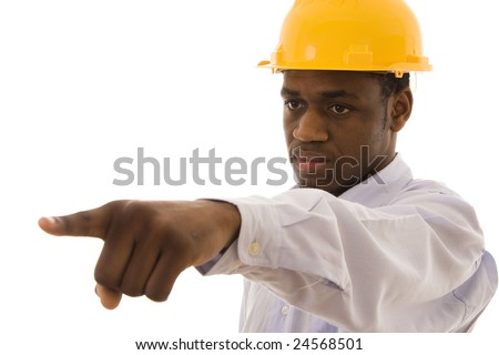 A black worker pointing with his finger to someone - stock photo