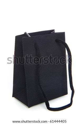a blackl bag on a white background
