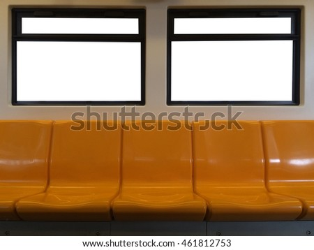 A blank advertisement panel in a  train.