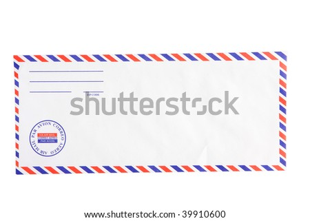 A blank airmail envelope isoltated on white with clipping path, insert your own text .