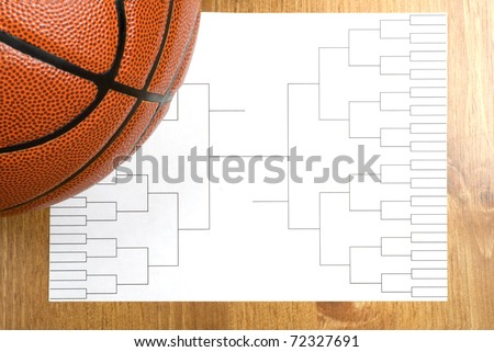A blank basketball tournament bracket and a basketball