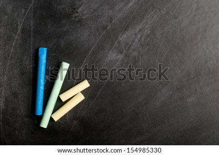 a blank blackboard, chalkboard and chalk straight on - stock photo
