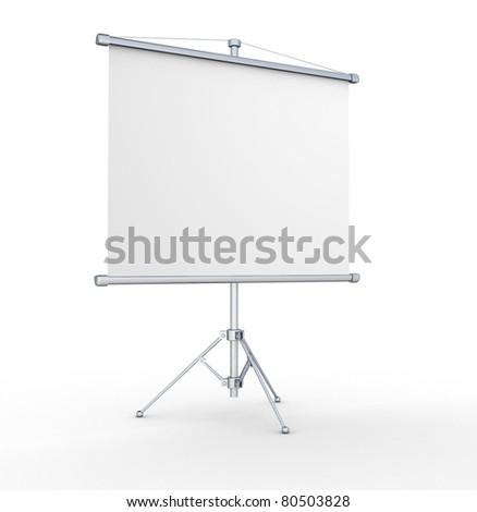 A blank board over white. 3d render illustration