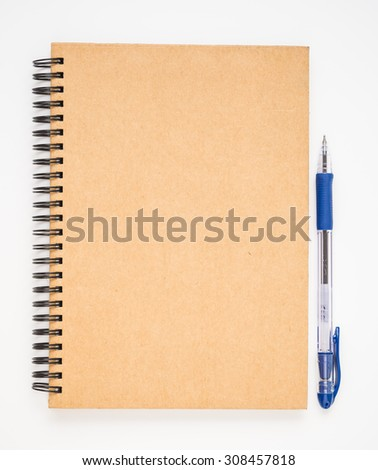 A blank brown notebook cover with blue pen