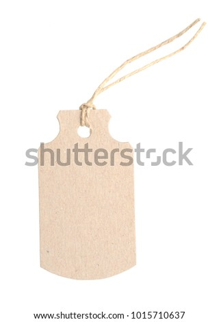 A blank card tag on white