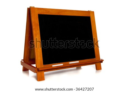 A blank chalkboard or blackboard on a white background with copy space - stock photo
