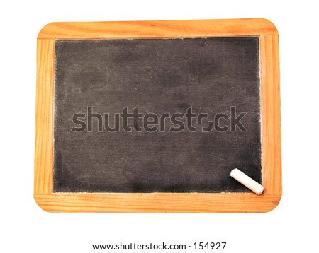 A blank chalkboard with a peice of chalk. - stock photo