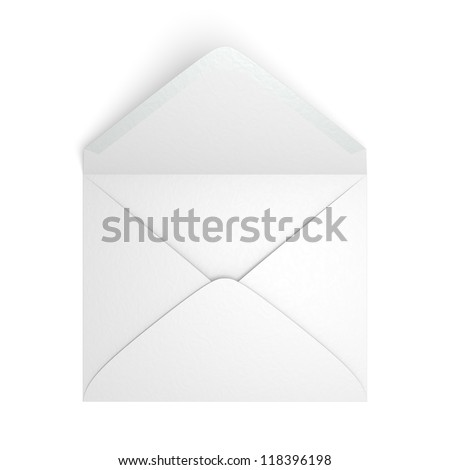 A blank envelope on white background. Computer generated image with clipping path. - stock photo