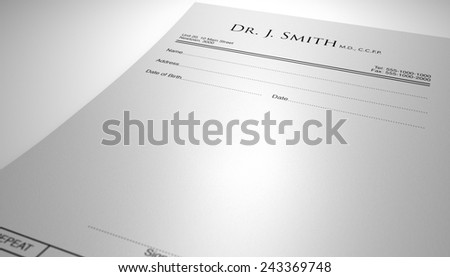 A blank generic doctors prescription note with three regular pills on an isolated white background