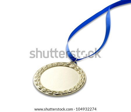 a blank gold sports medal with clipping path isolated on white with blue ribbon with copyspace - stock photo