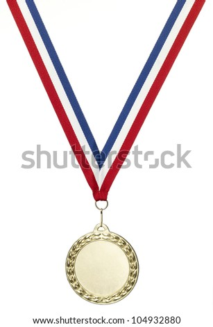 A blank gold sports medal with clipping path isolated on white with copy space - stock photo