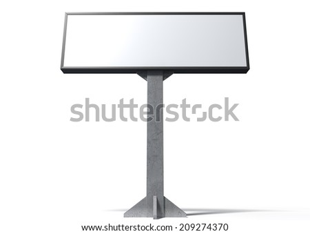 A blank horizontal light box street billboard on an isolated white background - stock photo