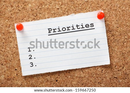 A blank list of Priorities on a paper note pinned to a cork notice board. In business and in life we draw up lists of actions to aid us in getting things done. - stock photo