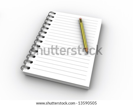 A blank notebook and a pencil on white background - 3d render - stock photo