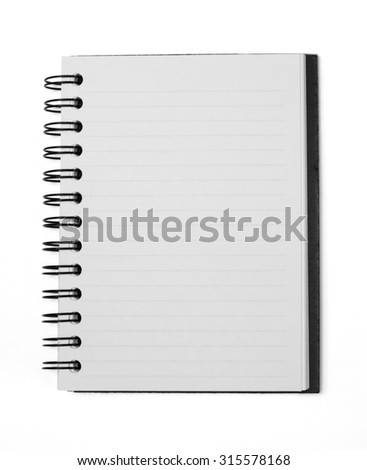 A blank open notebook isolated on white with clipping path. - stock photo