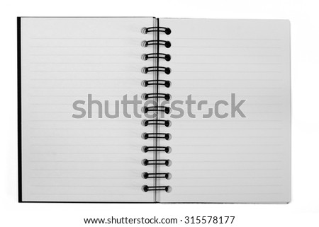 A blank open notebook with lined opposing pages. Isolated on white with clipping path.
