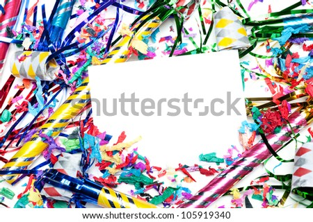 A blank party invitation with party blow horns and streamers.  Card is blank for placement of copy. - stock photo