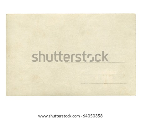 A blank postcard useful as a background - isolated over white background