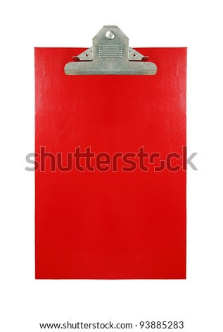 A blank red color paper clipboard with space for text isolated against white. - stock photo