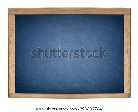 A blank school blueboard is isolated on a white background. - stock photo