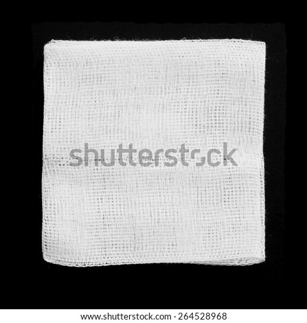 A blank square white cotton patch with copyspace for text. - stock photo